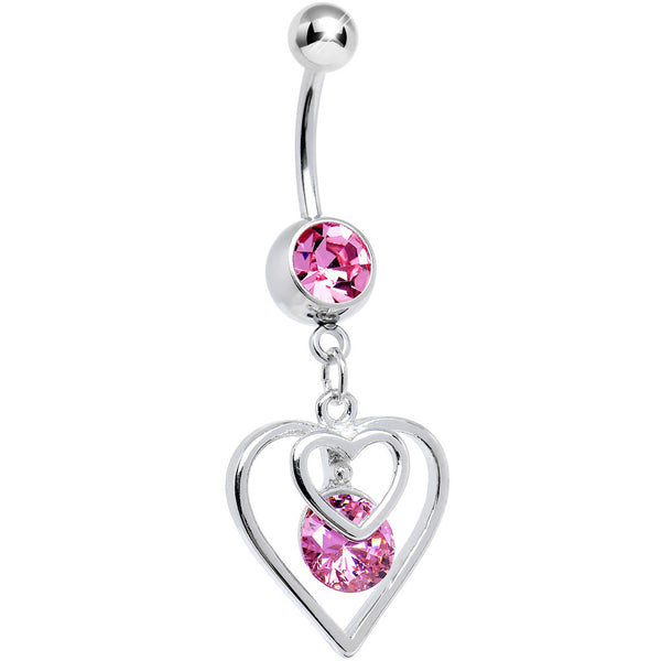 Pink CZ Dazzled by Love Double Heart Dangle Belly Ring