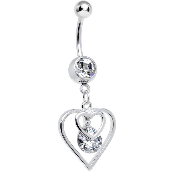 Clear CZ Dazzled by Love Double Heart Dangle Belly Ring