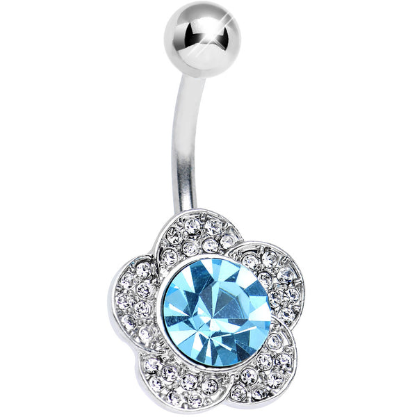 Aqua Gem Sparkling Devi Flower Belly Ring