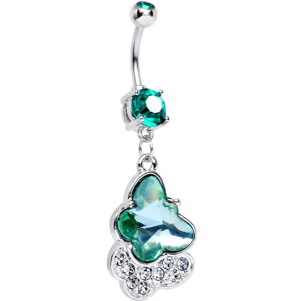 Green Double Gem Kindred Butterfly Dangle Belly Ring
