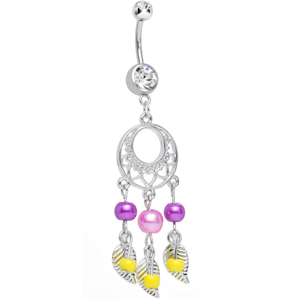 Clear Double CZ Pearly Feathers Silvery Dreamcatcher Dangle Belly Ring