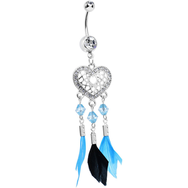 Clear Gem Blue and Black Feather Flutter Heart Dangle Belly Ring