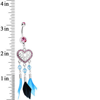 Pink Gem Blue and Black Feather Flutter Heart Dangle Belly Ring