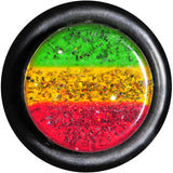 00 Gauge Green Yellow Red Acrylic Rasta Glitter Single Flare Plug