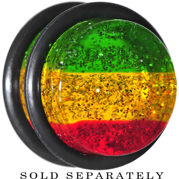 "9/16"" Green Red Yellow Acrylic Rasta Glitter Single Flare Plug"