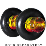 8 Gauge Red Yellow Green Acrylic Rasta Glitter Single Flare Plug