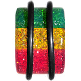 6 Gauge Green Red Yellow Acrylic Rasta Glitter Single Flare Plug