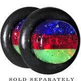 2 Gauge Green Red Blue Acrylic Vibrant Glitter Single Flare Plug