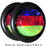 0 Gauge Blue Red Green Acrylic Vibrant Glitter Single Flare Plug