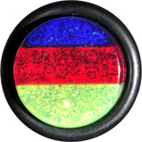 "1/2"" Green Red Blue Acrylic Vibrant Glitter Single Flare Plug"