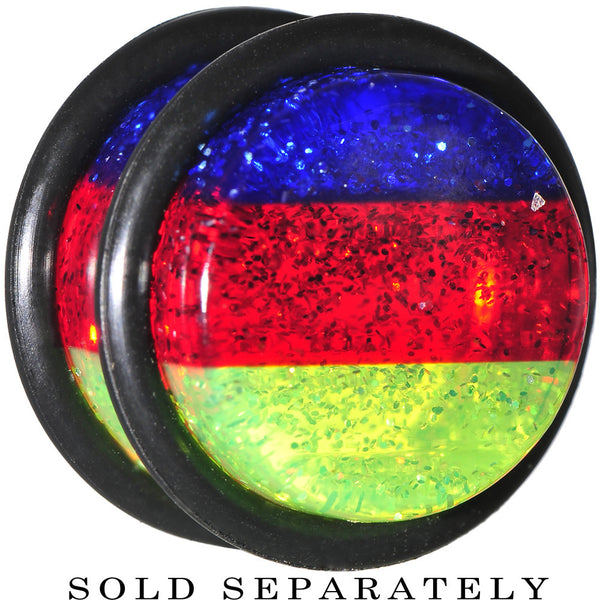 "9/16"" Blue Red Green Acrylic Vibrant Glitter Single Flare Plug"