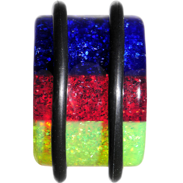 5/8 Green Red Blue Acrylic Vibrant Glitter Single Flare Plug
