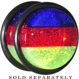 "5/8"" Green Red Blue Acrylic Vibrant Glitter Single Flare Plug"