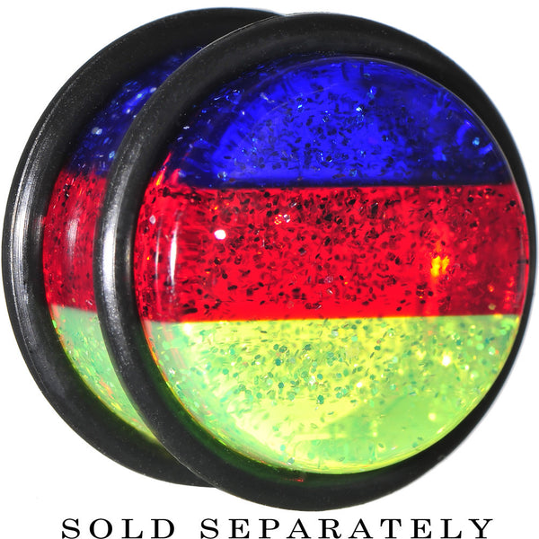 "5/8"" Blue Red Green Acrylic Vibrant Glitter Single Flare Plug"