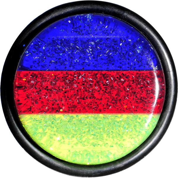 18mm Green Red Blue Acrylic Vibrant Glitter Single Flare Plug