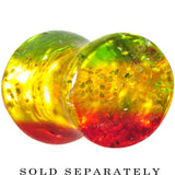 8 Gauge Green Red Yellow Acrylic Rasta Glitter Saddle Plug