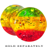 6 Gauge Red Yellow Green Acrylic Rasta Glitter Saddle Plug