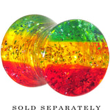 2 Gauge Red Yellow Green Acrylic Rasta Glitter Saddle Plug