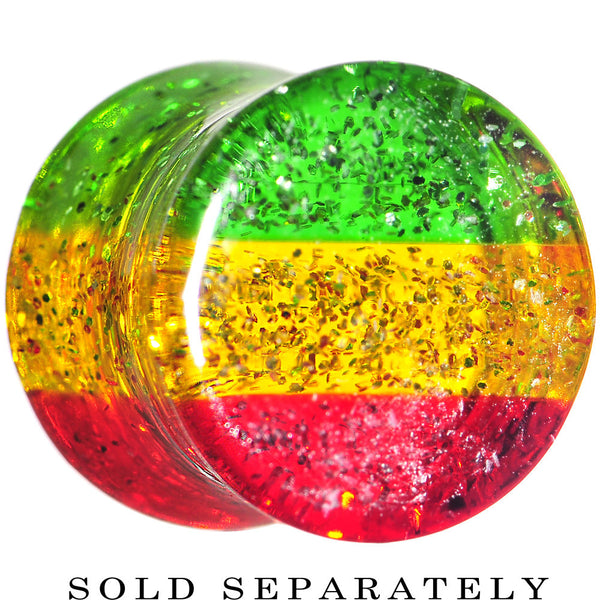 00 Gauge Red Yellow Green Acrylic Rasta Glitter Saddle Plug