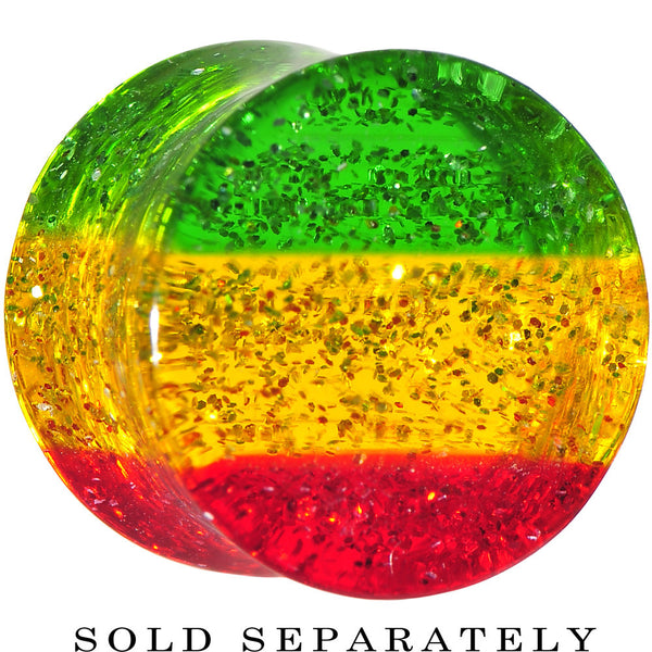 1/2 Green Red Yellow Acrylic Rasta Glitter Saddle Plug