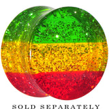 "9/16"" Green Yellow Red Acrylic Rasta Glitter Saddle Plug"