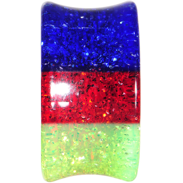 00 Gauge Blue Red Green Acrylic Vibrant Glitter Saddle Plug