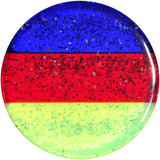 "9/16"" Blue Red Green Acrylic Vibrant Glitter Saddle Plug"