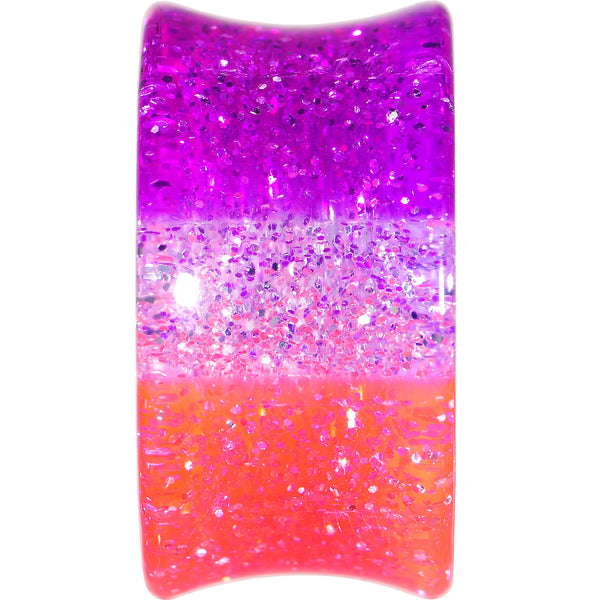 2 Gauge Multi Pink Acrylic Perfectly Rosy Glitter Saddle Plug