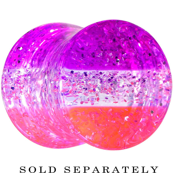0 Gauge Multi Pink Acrylic Perfectly Rosy Glitter Saddle Plug