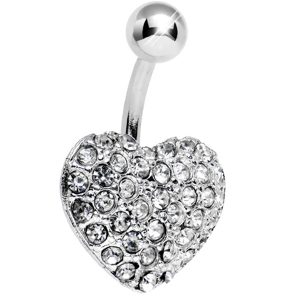 Clear Gem Flash of Love Heart Belly Ring