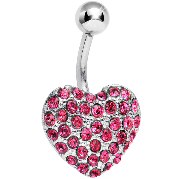 Pink Gem Flash of Love Heart Belly Ring