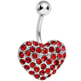 Red Gem Flash of Love Heart Belly Ring