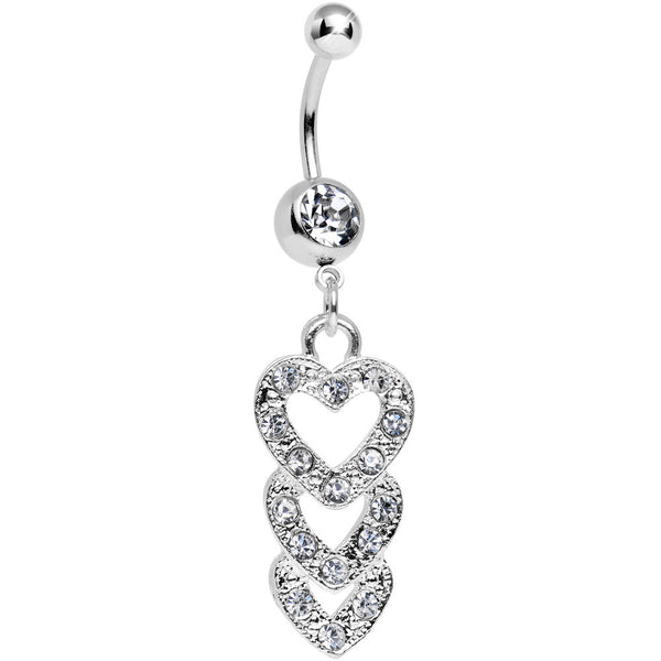 Clear Gem Triple Trickle Heart Dangle Belly Ring
