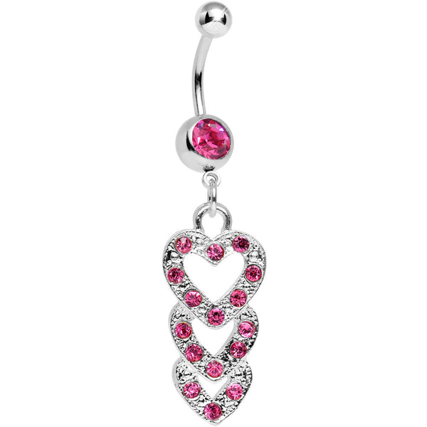 Pink Gem Triple Trickle Heart Dangle Belly Ring
