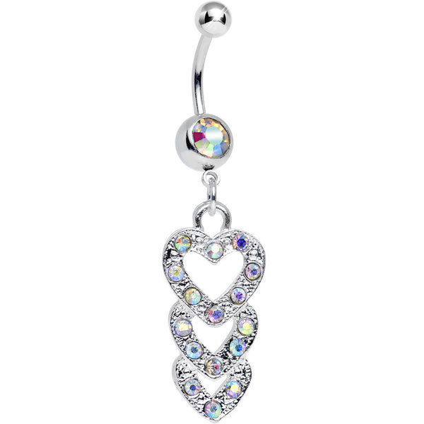 Aurora Gem Triple Trickle Heart Dangle Belly Ring