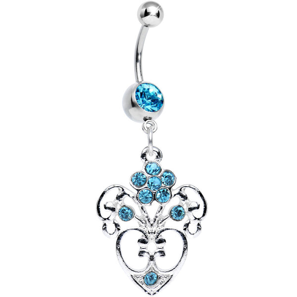 Aqua Gem Flowering Heart Dangle Belly Ring