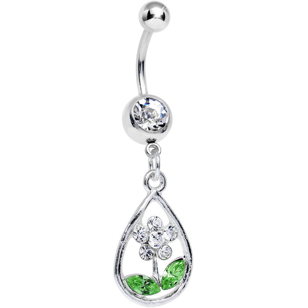 Clear Gem April Shower Brings May Flower Dangle Belly Ring