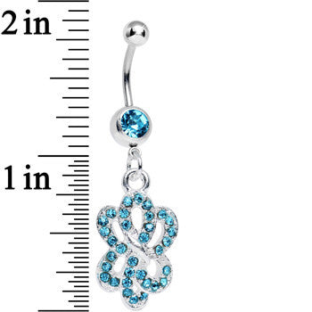Aqua Gem Sparkling Sailor Knot Dangle Belly Ring
