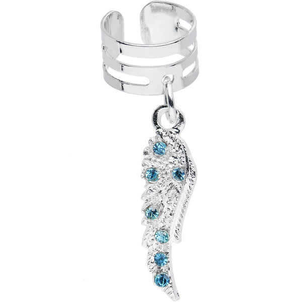 Aqua Gem Heavenly Skies Angel Wing Dangle Ear Cuff