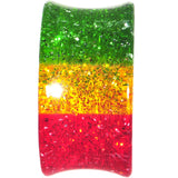 4 Gauge Red Yellow Green Acrylic Rasta Glitter Saddle Plug