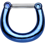 "14 Gauge 5/16"" Glossy Blue Anodized Titanium Septum Clicker"