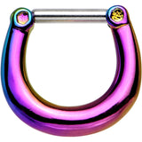 14 Gauge 5/16 Glossy Rainbow Anodized Titanium Septum Clicker