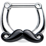"14 Gauge 5/16"" Old Fashioned Black Mustache Septum Clicker"