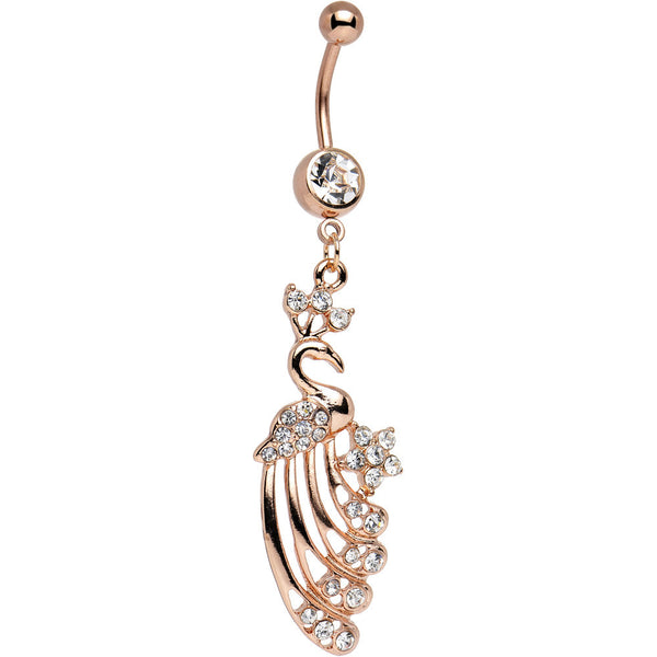 Clear CZ Rose Gold Plated Eternal Life Peacock Dangle Belly Ring