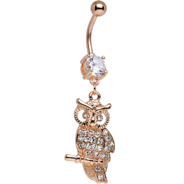 Clear CZ Rose Gold Plated Perched Perceptive Owl Dangle Belly Ring