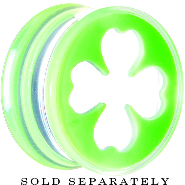 "9/16"" Clear Green Acrylic Lucky Clover Saddle Plug"
