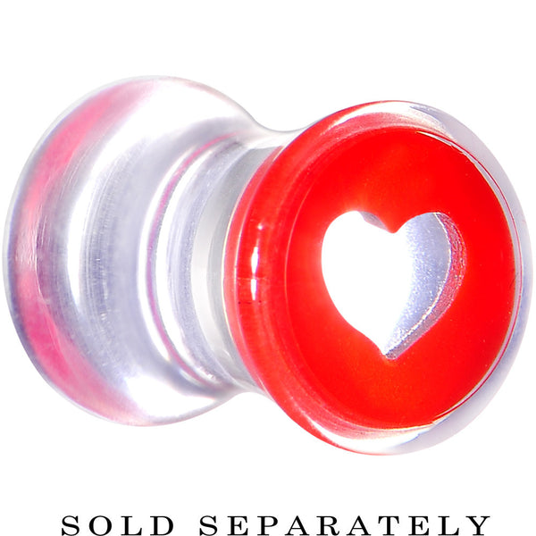 2 Gauge Clear Red Acrylic Adoring Heart Saddle Plug