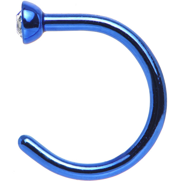 "20 Gauge 1/4"" Clear Gem Blue Anodized Titanium Nose Hoop"
