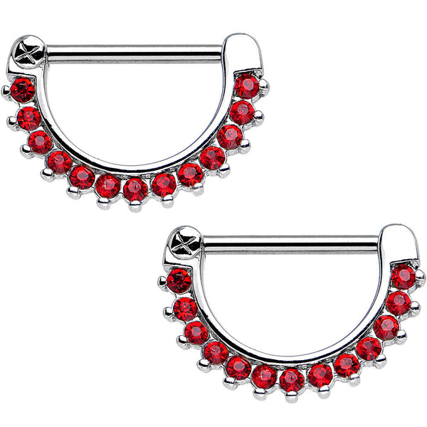 14 Gauge 9/16 Red Gem Glamorous Nipple Clicker Set