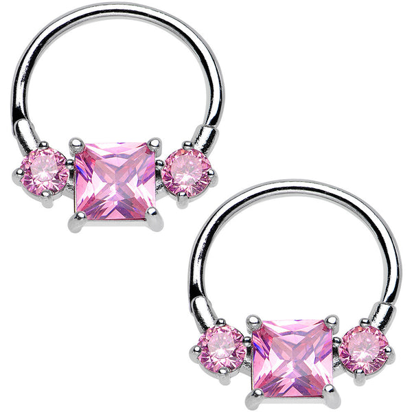 14 Gauge 5/8 Pink Gem Triple Glamour Nipple Clicker Set